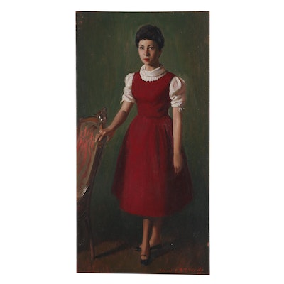 Edmond J. Fitzgerald Mid Century Oil Portrait of a Girl