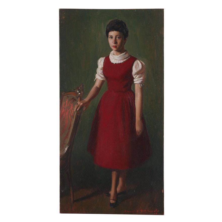Edmond J. Fitzgerald Mid Century Oil Portrait of a Girl
