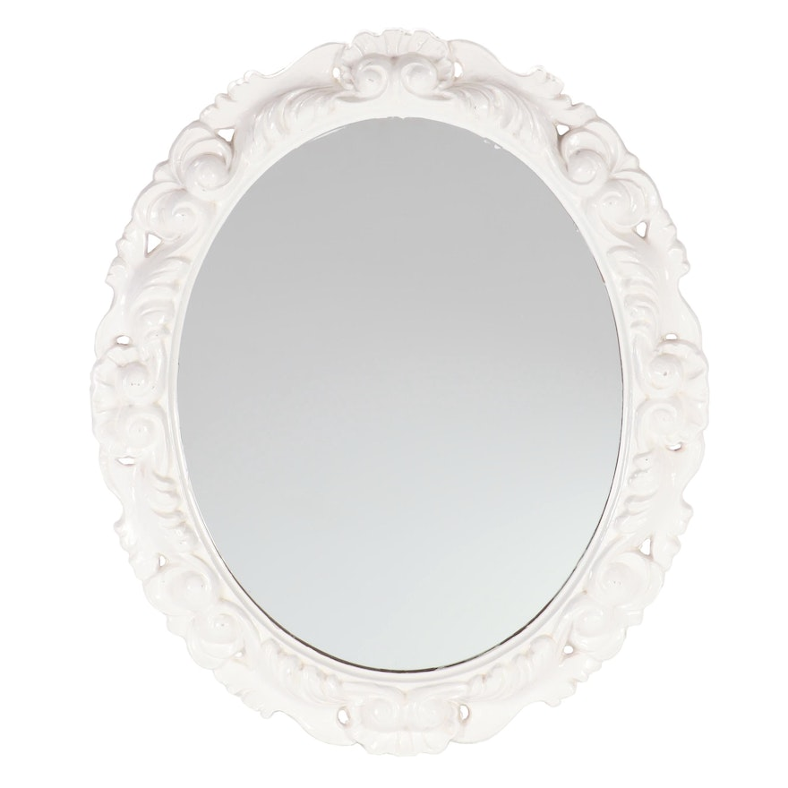 Contemporary Rococo Style White Painted Round Wall Mirror