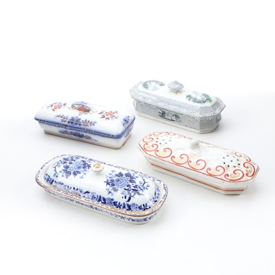 Copeland, Minton, and English Transferware Toothbrush Box with French Soap Box