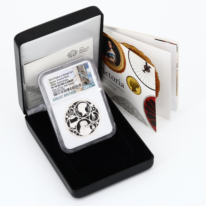 NGC Graded PF70 Piefort Great Britain £5 Queen Victoria Silver Proof Coin