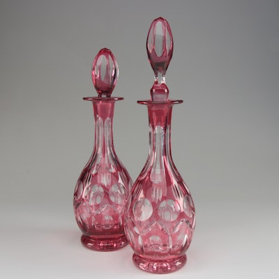 Pair of Cranberry Flashed Glass Decanters