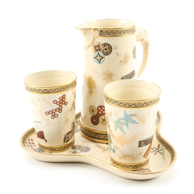 Royal Worcester Earthenware Pitcher and Tumbler Set with Tray, 1875