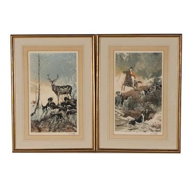 L'Estampe Moderne Hunting Themed Etchings