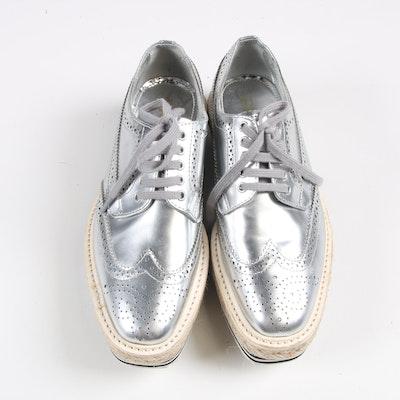 Prada Silver Metallic Leather Wingtip Platform Espadrille Brogue Shoes