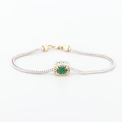 Sterling Silver Quartz Triplets Bracelet with Gold Wash Accents