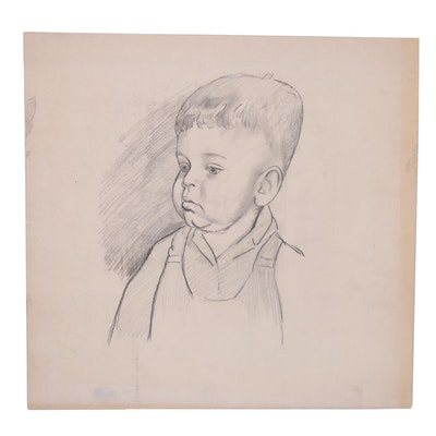 Paul Chidlaw Graphite Drawing of Toddler Boy