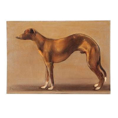 David Andrews Whippet Portrait Oil Painting