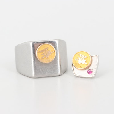 10K Gold Synthetic Ruby  Service Recognition Pin and Ring with 10K Gold Accents