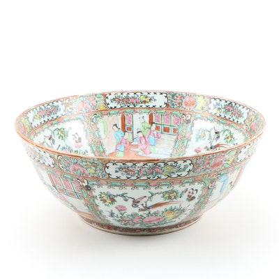 Chinese Large Rose Medallion Porcelain Bowl, Late 19th Century