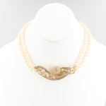 18K Gold 5.53 CTW Diamond and Cultured Pearl Necklace with 14K Gold Closure