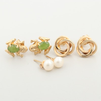 14K Yellow Gold Earrings Including Cultured Pearl and Serpentine