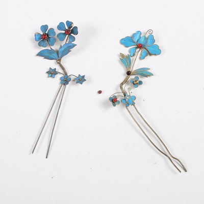 Chinese Tian-tsui Kingfisher Feather Metal Hair Pins, Early Twentieth Century
