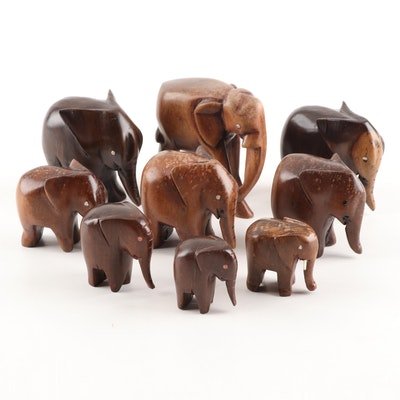 Carved Elephant Figurines, Vintage