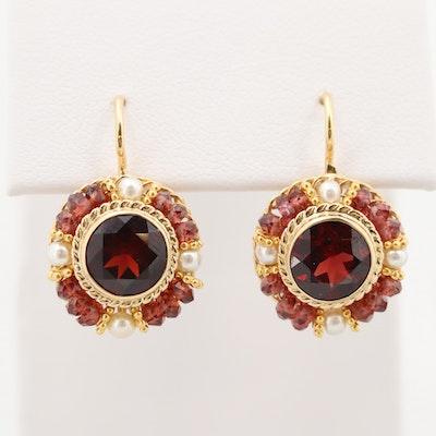 Tilson Gem Designs 18K Gold Garnet, Cultured Pearl and Rhodolite Garnet Earrings