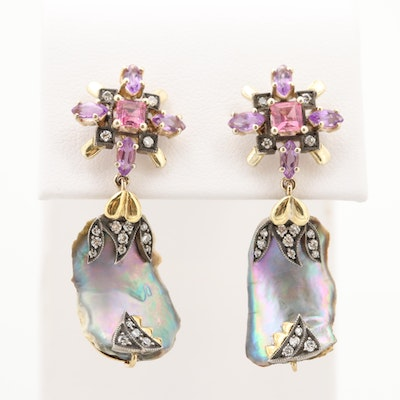 18K Gold Cultured Pearl, Diamond and Gemstone Earrings with Sterling Accent