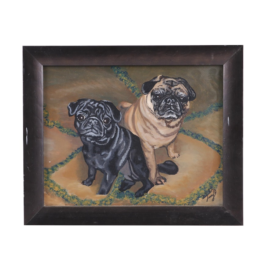 Terry Oil Painting of Pugs