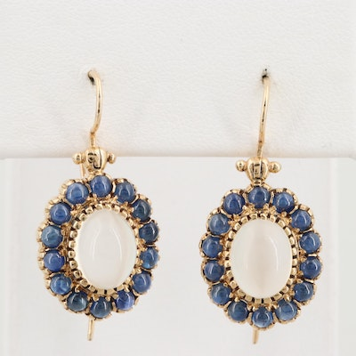 9K Yellow Gold Moonstone and Sapphire Earrings