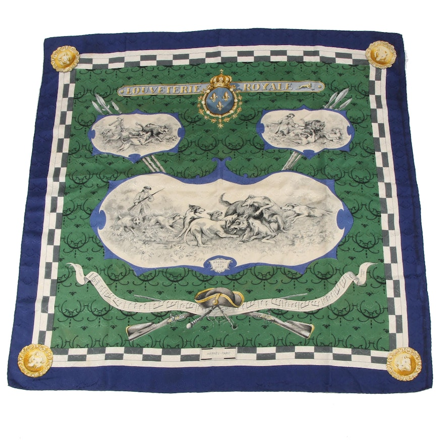 "Hermès of Paris ""Louveterie Royale"" Silk Scarf Designed by Charles Hallo"