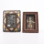 Victorian Period Wax Baby Jesus Shadow Box and Ribbon Framed Madonna Etching