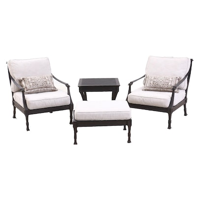 "Restoration Hardware ""Antibes"" Luxe Depth Lounge Chairs, Ottoman, and Side Table"