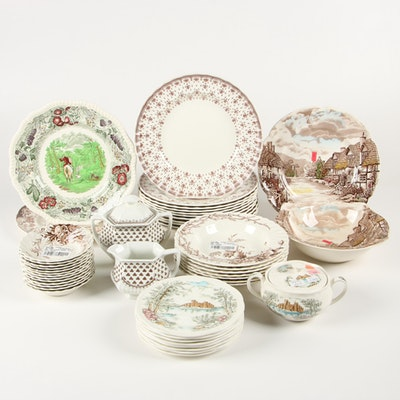 Brown English Dinnerware Including Spode and Johnson Brothers, Vintage
