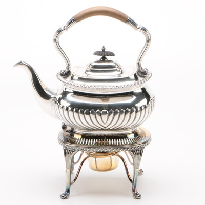Mappin Brothers Silver Plate Tea Pot with Stand and Burner, Late 19th Century