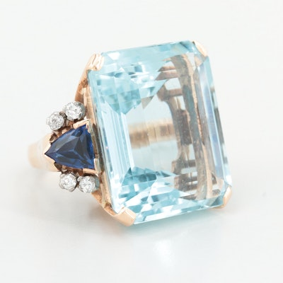 14K Yellow Gold Aquamarine, Diamond and Synthetic Blue Sapphire Ring