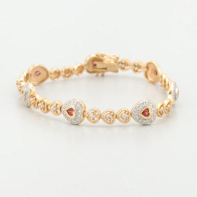 Gold Wash on Sterling Garnet and Diamond Bracelet With Heart Motif