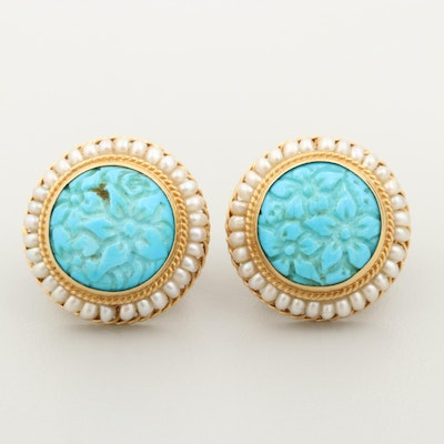 18K Yellow Gold Turquoise and Seed Pearl Earrings