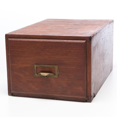 Globe Weis Wood Filing Box with Brass Pull, Mid-Century