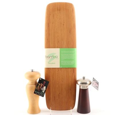 Bamboo Board and Salt and Pepper Shaker