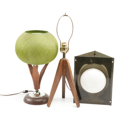 Mid Century Modern Table Lamps and Pendant Lamp Shade