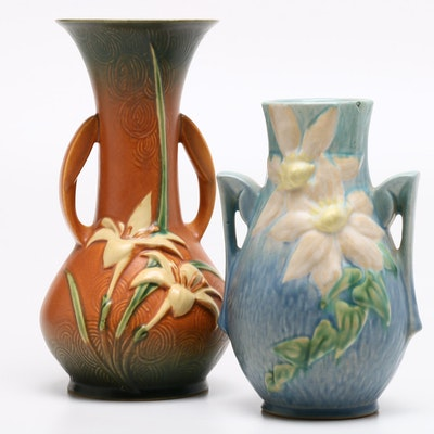 """Roseville Pottery """"Zephyr Lily"""" and """"Clematis"""" Vases, 1940s"""