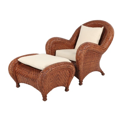 Pottery Barn Woven Wicker Armchair and Ottoman