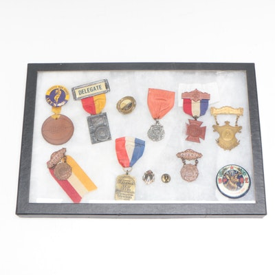 Woman's Relief, French Army Band, VFW, and Boxing Medals, Early 20th-Century