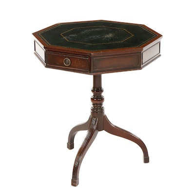 Federal Style Leather Padded Mahogany Drum Table, Mid-20th Century