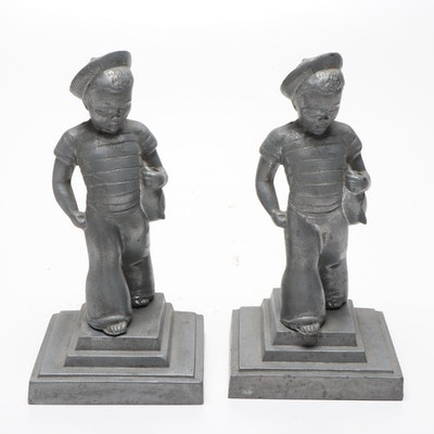 Frankart Sailor Boy and Boat Spelter Bookends, 1930s
