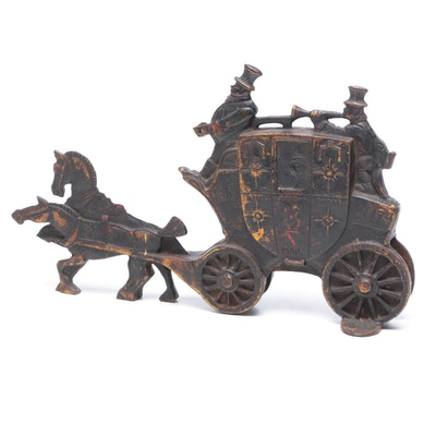 Cast Iron English Royal Mail Coach Doorstop, Early 20th Cetnury