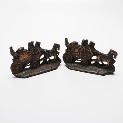 Stagecoach Bronze Finish Bookends by Howell Co., Mid-Century