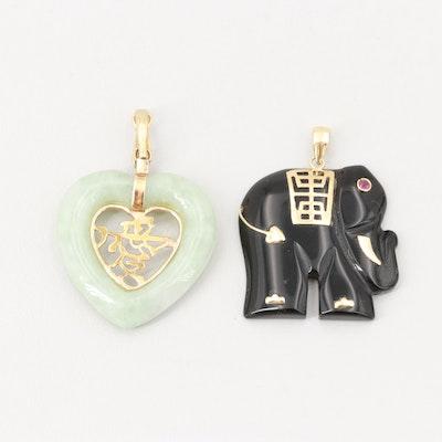 14K Yellow Gold Black Onyx and Ruby Elephant Pendant and Jadeite Heart Pendant