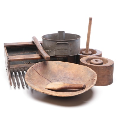 Antique Wood Primitive Molds, Bowl, Scoop, and Swans Down Metal Round Cake Pan