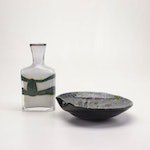 Contemporary Art Glass Folded Edge Bowl and Vase with Applied Decoration