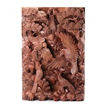 Sculptural Carved Wood Panel Featuring Birds