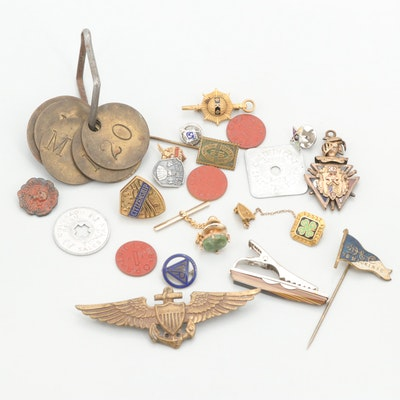 Assorted Jewelry with Sterling Silver Pins, Laundry Coins and Serpentine