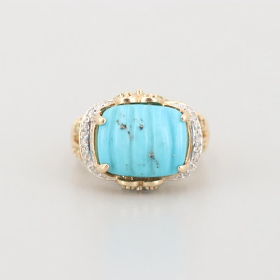 14K Yellow Gold Turquoise, Diamond, Blue Topaz and Prasiolite Ring