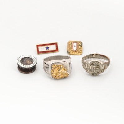 Assorted Gold and Silver Tone Military Style Jewelry