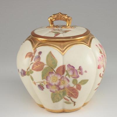 Royal Worcester Gilt Ivory Blush Porcelain Lidded Jar, 1889