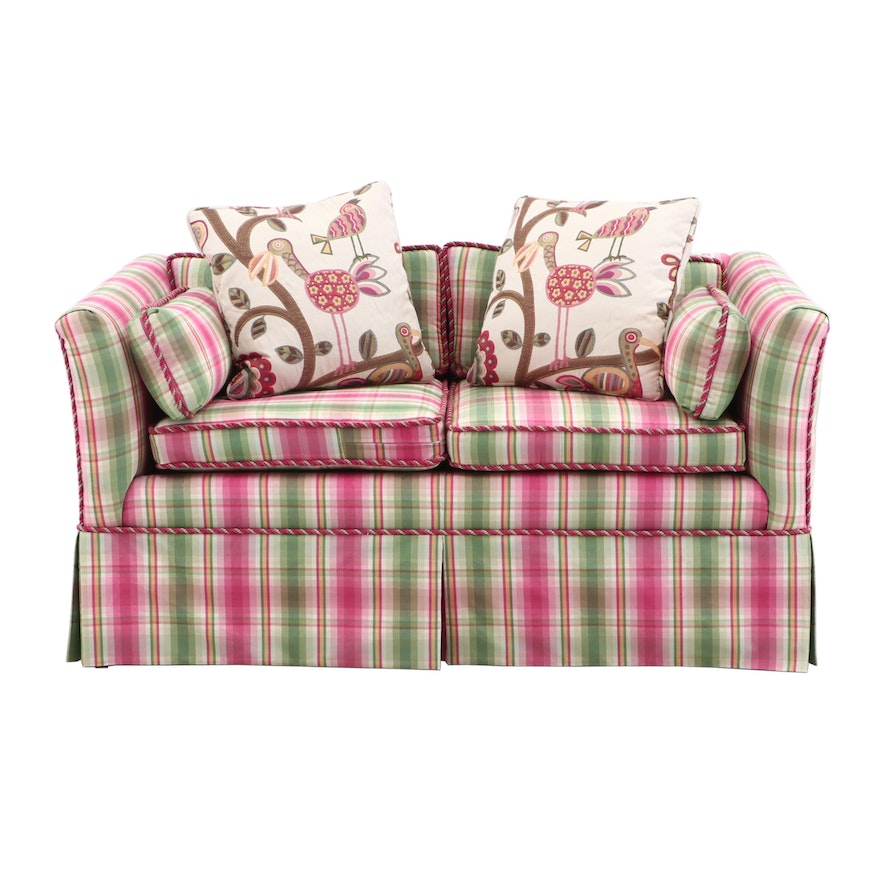 Contemporary Pink and Green Plaid Upholstered Loveseat Sofa with Throw  Pillows