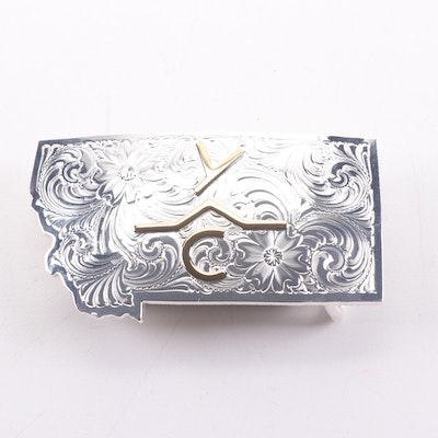 Montana Silversmiths State Motif Two-Tone Belt Buckle